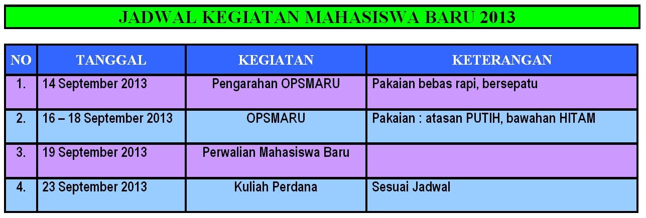 jadwal kegiatan mahasiswa baru 2013