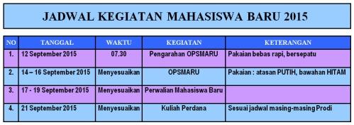 jadwal kegiatan mahasiswa baru 2015